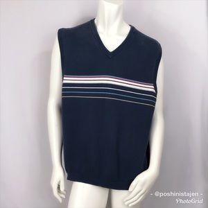 🆕 Eddie Bauer Navy Blue Striped Sweater Vest XXL